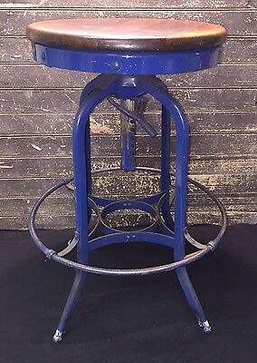 """Antique Industrial Toledo Stool UHL Machine Age Ad 25""""-30"""" Drafting Stool Chair"""
