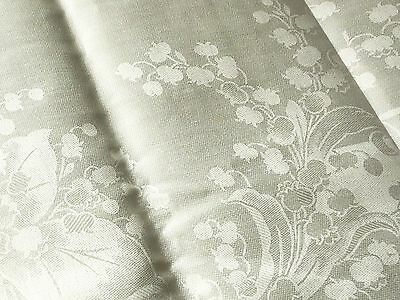 LILY OF THE VALLEY Antique IRISH DAMASK LINEN Tablecloth 12 Napkins UNUSED white