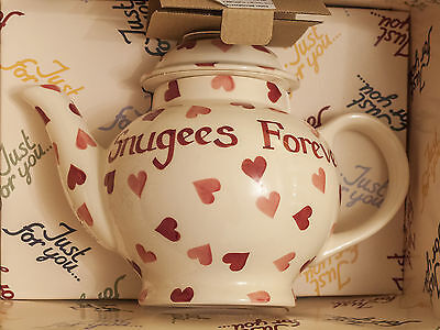 Emma Bridgewater Customised Pink Hearts 4 Cup Teapot Boxed - 'Snugees Forever'
