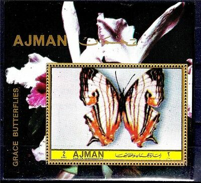 Ajman Grace Butterfly Insects Orchids Flowers Plants Nature 1v m/s MNH