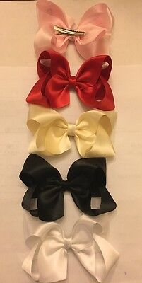 "Lot Of 5 Large 4"" Satin Boutique Hair Bow clips Ladies, Girls, Infant Red, Ivory"