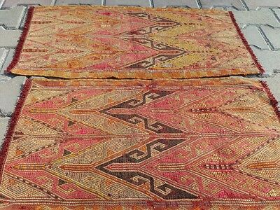 Cr1920-1939sTwo Embroidered Natural Dyes 1'5''x2'7'' Wool Pile Cushion Rugs