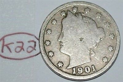 United States 1901 Liberty Head Nickel USA 5 Cents Coin Lot #K22