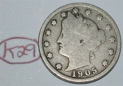 United States 1905 Liberty Head Nickel USA 5 Cents Coin Lot #K29