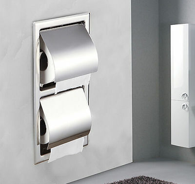 NEW Chrome Brass Wall Mounted Recessed Toilet Double Roll Paper Holder Box