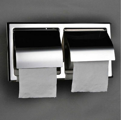 Stainless Steel Toilet Roll Paper Holder Double Tissue Box Bracket Free Shipping