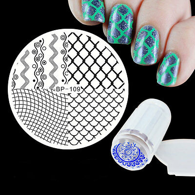 Template Wave Nail Art Image Stamp Stencil Plate Scraper Stamper Kit