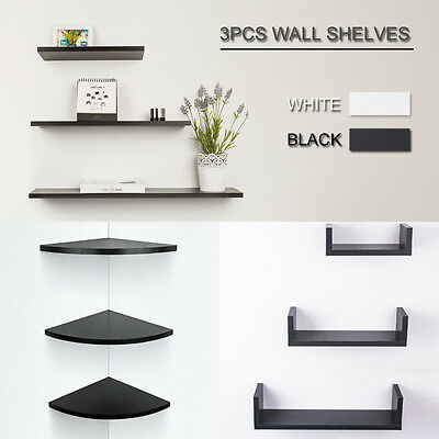 3PCS Wall Floating Shelf Set Concealed Shelves Bookshelf Shop Display Multiple
