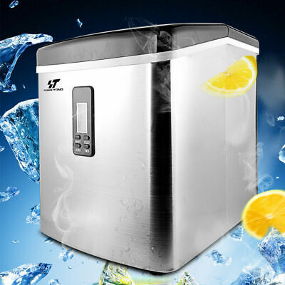 3.2L Stainless Steel Countertop Ice Maker Compact Cube IceMaker Machine 33lbs/da