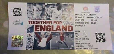 England v Scotland 11/11/16 Used Football Ticket World Cup Qualifier Wembley