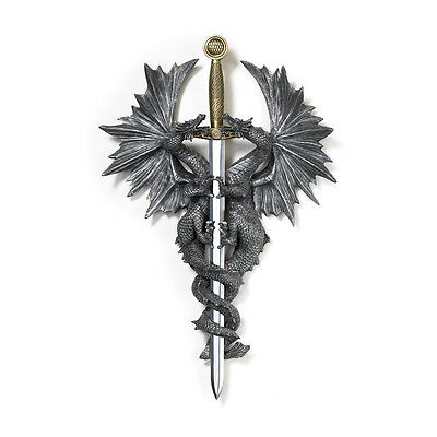 Dragon Dagger Wall Plaque Display Medieval Mythology Collectible Home Accent New