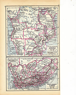'SOUTH CENTRAL AFRICA, CAPE COLONY & NATAL'  MAP by EDWARD WELLER [24] - 1897