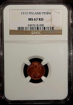 Finland   Penni 1913 NGC MS 67 RD UNC Copper