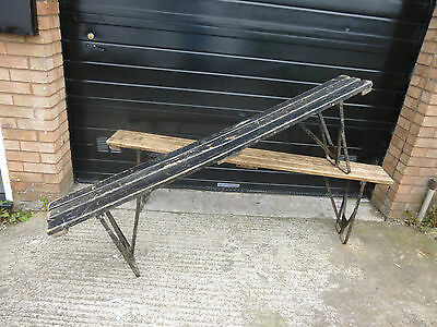 Vintage Wooden School Bench with Metal Fold-up Legs