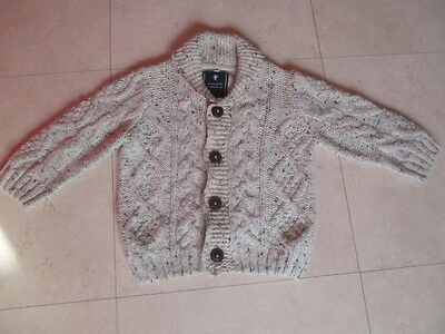 NEXT knitted cable cardigan wool beige speckled shawl collar 18 months - 2 years