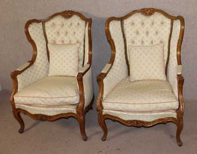 Lovely Shaped Elegant Pair of Bergere Armchairs Walnut Framed Upholstered.1960's