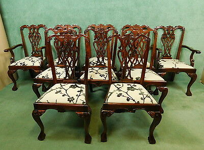 Set Of Ten Reproduction Mahogany Chippendale Style Chairs