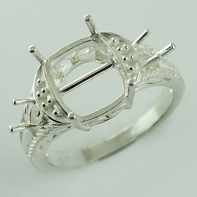 Semi Mount 8x10 MM Cocktail Ring 925 Sterling Silver Occasion Gift Women Jewelry