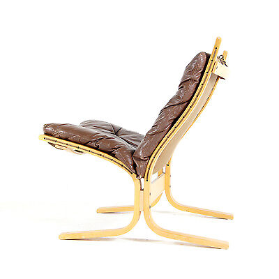 Retro Vintage Leather Ingmar Relling Siesta Lounge Chair Armchair Danish 60s 70s