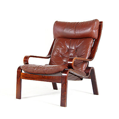 Retro Vintage Danish Rosewood Leather Lounge Easy Chair Armchair Mid Century 70s