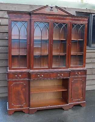 Large 4 Door Breakfront Mahogany Cabinet with Glazed Top Display sections.