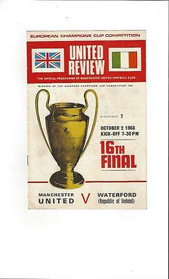 Manchester United v Waterford European Cup 1968/69 Football Programme