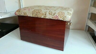 Vintage Old Lidded Wooden Footstool Foot Rest Sewing Box Floral Fabric Furniture