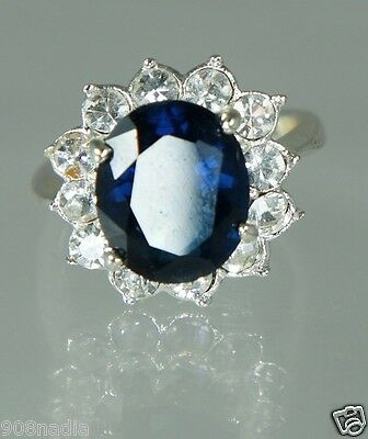 Vintage Silver Plated Women's Ring W/ Sapphire Blue Rhinestone & Crystals Size 6