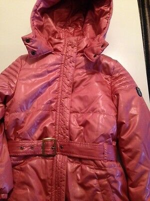 Esprit girls pink quilted detachable hooded coat age 8-9
