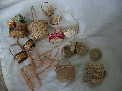 17 Mini Woven Baskets --Various Styles  Most Unused with tags