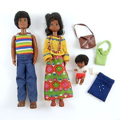 3 Sunshine Family Dolls Set Black African American Hippie Mod Dad Mom Baby 1973