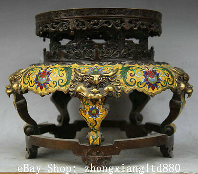"13"" Chinese Palace Cloisonne Bronze Gild Lion Head tablet chair Foot Round stool"
