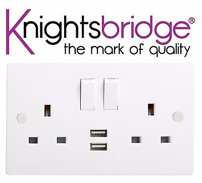 Knightsbridge 13A 2 Gang Double Switched Socket with Dual USB Charger Port 3.1A