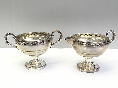 Antique Old Fisher Sterling Weighted 702 Creamer Sugar Bowl Dish Serving Pieces