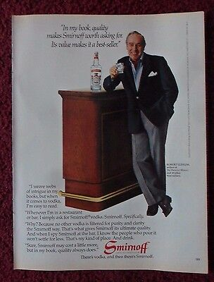 1983 Print Ad Smirnoff Vodka ~ Best-Selling Author Novelist ROBERT LUDLUM