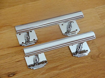 "Pair Chrome 6"" Art Deco Door Pull Handles Cupboard Furniture Knobs Drawer"
