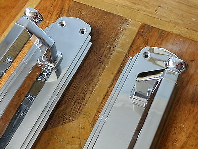 "Large Pair 15"" Door Pull Handles Art Deco Chrome Knobs Grab"