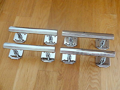 "4 Chrome 6"" Art Deco Door Pull Handles Cupboard Furniture Knobs Drawer"
