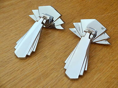 Pair Chrome Door Cupboard Drawer Dresser Drop Handles Knobs Art Deco Furniture