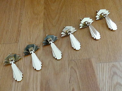 6 Brass Door Cupboard Drawer Dresser Drop Handles Knobs Art Deco Furniture