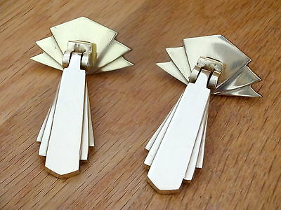 Pair Brass Door Cupboard Drawer Dresser Drop Handles Knobs Art Deco Furniture