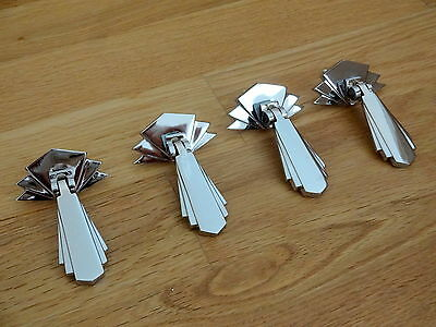 4 Chrome Door Cupboard Drawer Dresser Drop Handles Knobs Art Deco Furniture