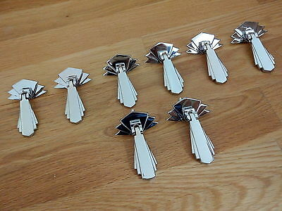 8 Chrome Door Cupboard Drawer Dresser Drop Handles Knobs Art Deco Furniture