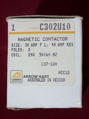 Arrow Hart Controls Magnetic Contactor C302U10 24 V 2 Poles 30 amp FL NEW in BOX