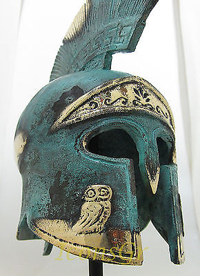 Ancient Greek Bronze Museum Replica Vintage Athenian Battle Helmet Owl Crest