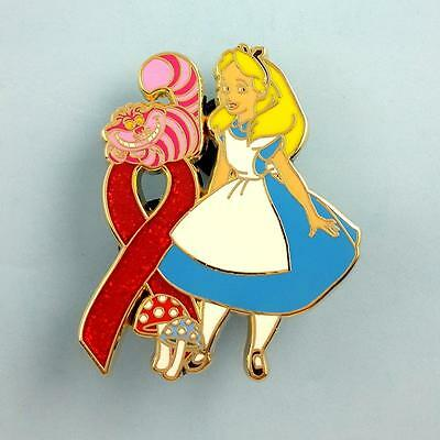 sparkle red  RIBBON PIN cheshire cat ALICE IN WONDERLAND MUSHROOM bling