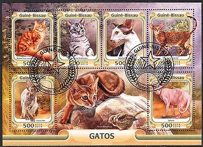 Guinea - Bissau 2016 Cats Sheet x 6 used