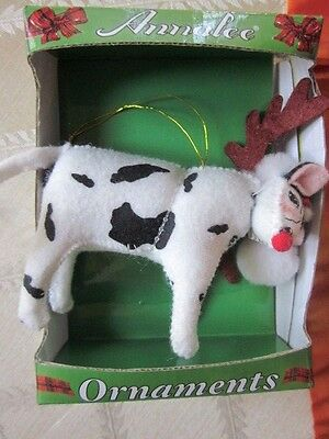 ANNALEE CHRISTMAS  COW Reindeer with Antlers ORNAMENT NEW