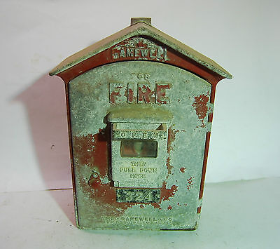 "Antique Gamewell Fire Alarm Box - Unrestored - Has Main Components - 17"" T"