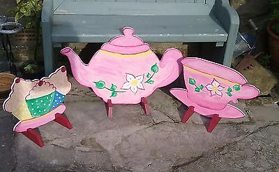 CUP & SAUCER TEAPOT CUPCAKE Horse show jump fillers pony show farm shop sign